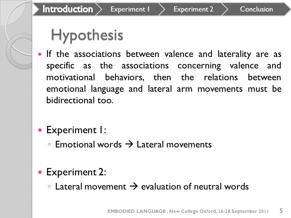 Hypothesis Experiment 1: Experiment 2: Introduction