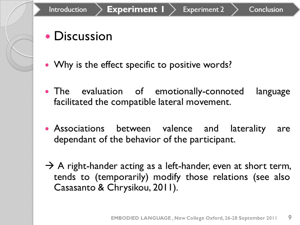 Discussion Why is the effect specific to positive words