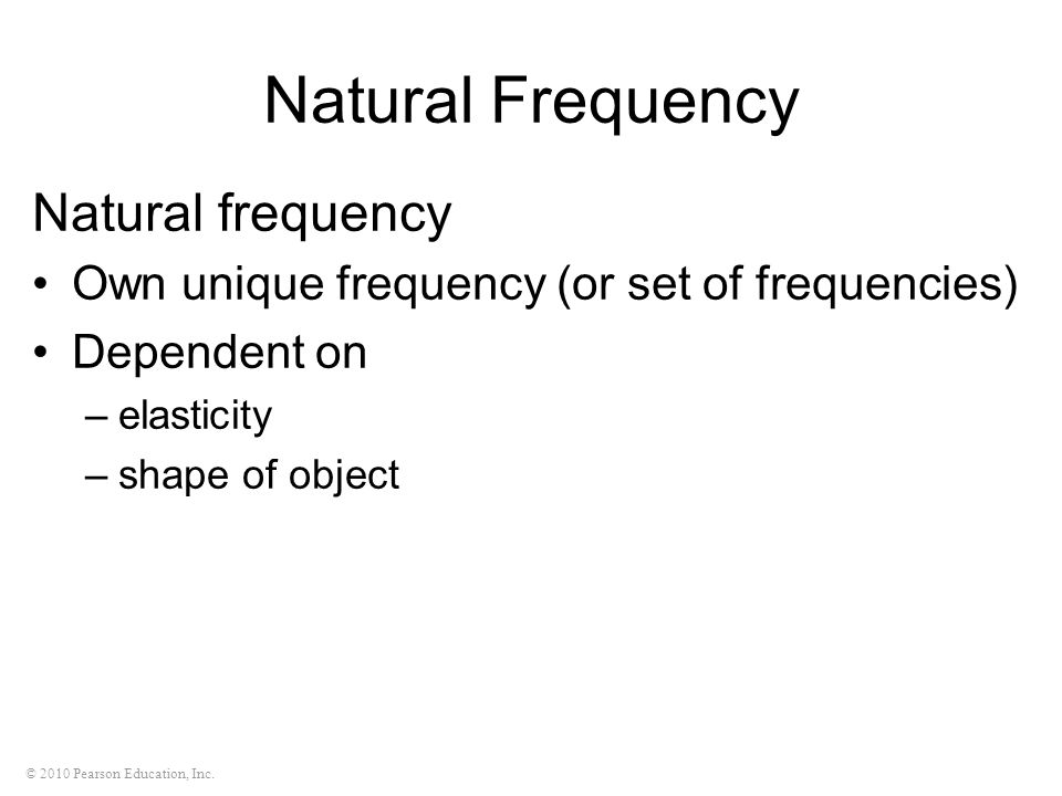 Natural Frequency Natural frequency