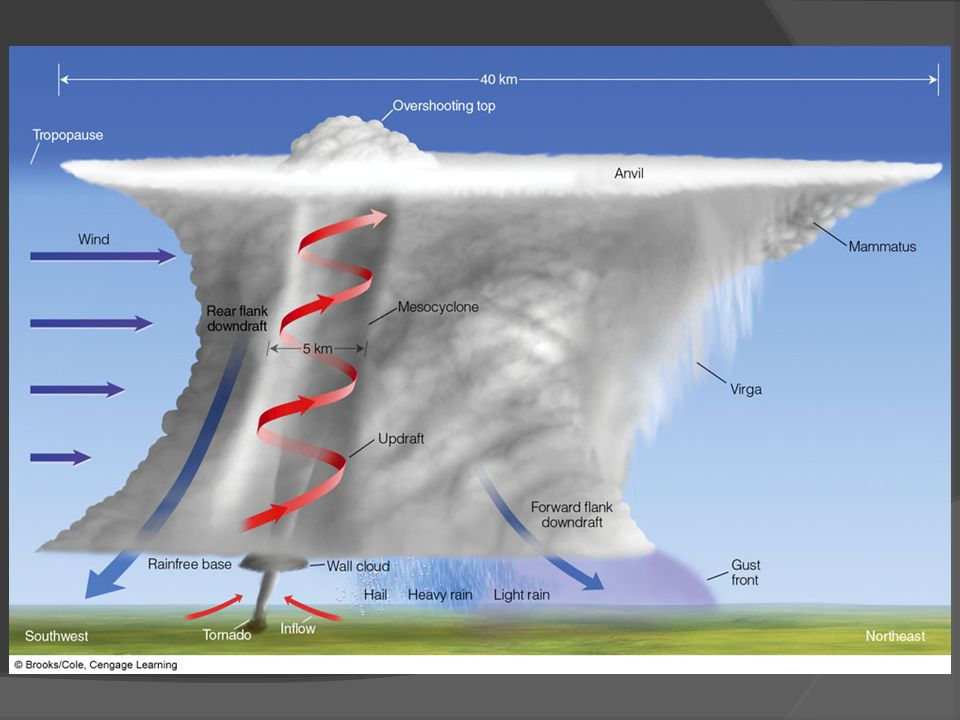 FIGURE 14.19 Some of the features associated with a classic tornado-breeding supercell thunderstorm as viewed from the southeast.