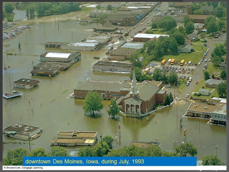 downtown Des Moines, Iowa, during July, 1993