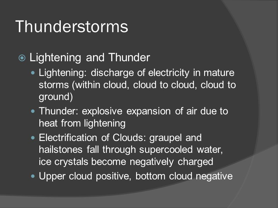 Thunderstorms Lightening and Thunder