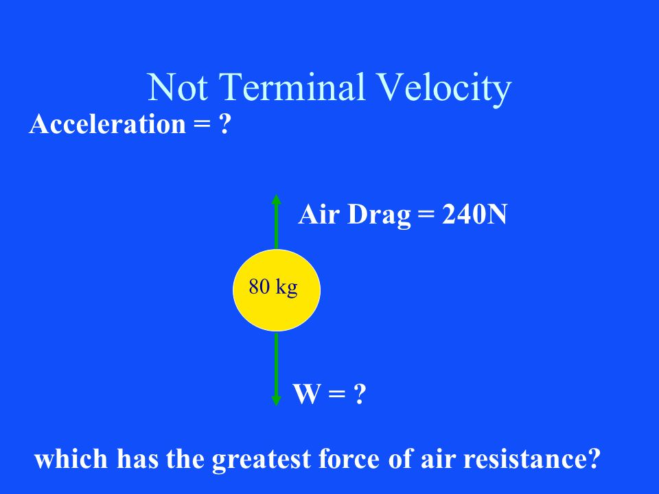 Not Terminal Velocity Acceleration = Air Drag = 240N W =