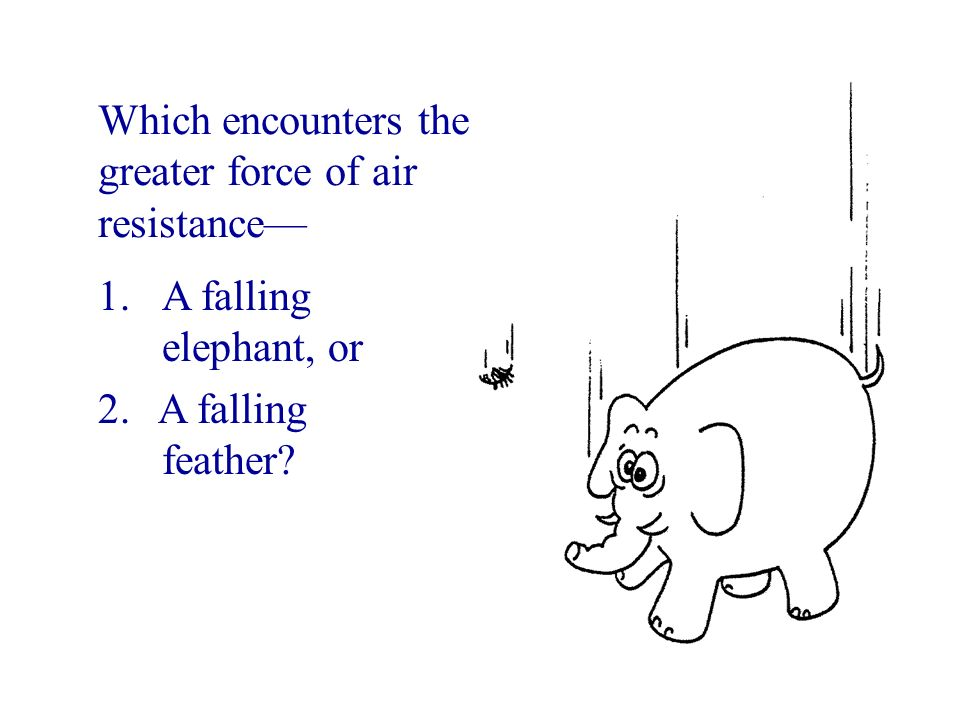 Which encounters the greater force of air resistance—