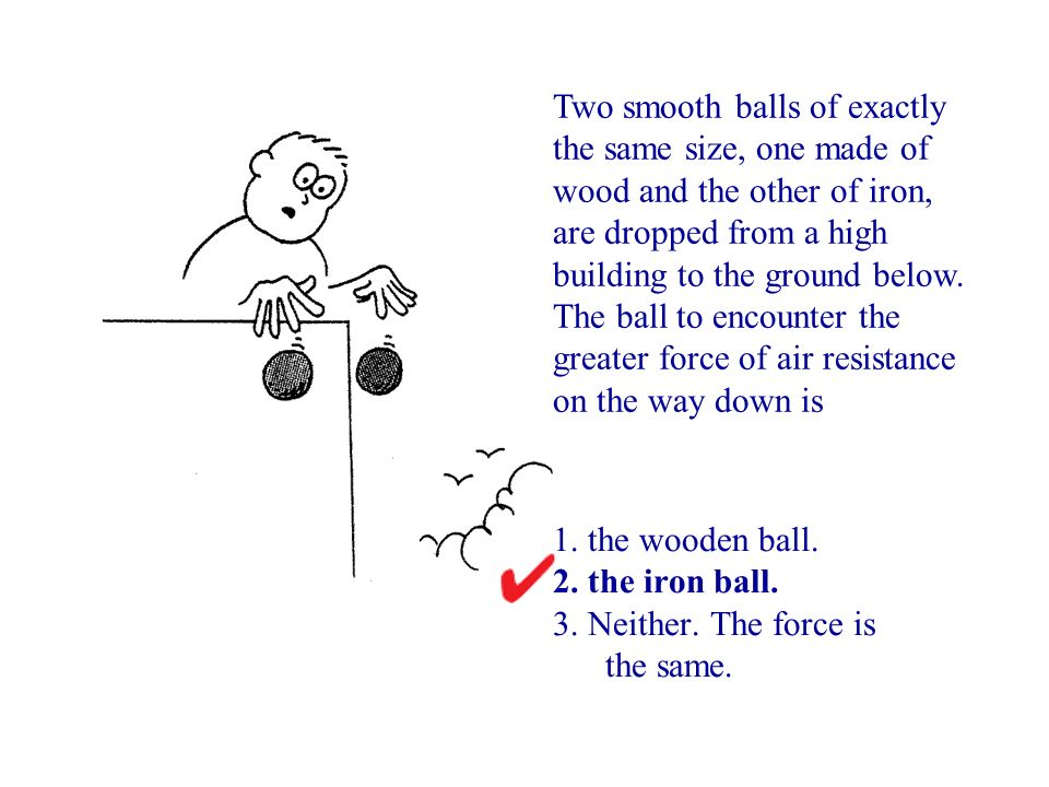 Two smooth balls of exactly the same size, one made of wood and the other of iron, are dropped from a high building to the ground below. The ball to encounter the greater force of air resistance on the way down is