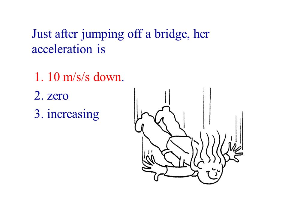Just after jumping off a bridge, her acceleration is
