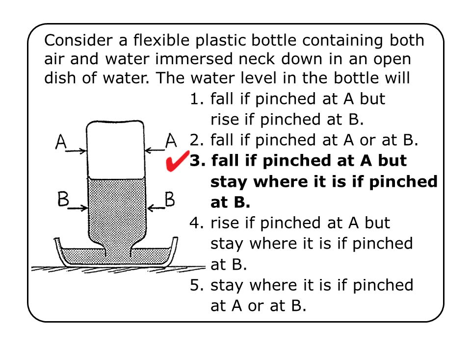 Consider a flexible plastic bottle containing both air and water immersed neck down in an open dish of water. The water level in the bottle will