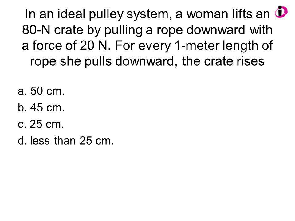 In an ideal pulley system, a woman lifts an 80-N crate by pulling a rope downward with a force of 20 N. For every 1-meter length of rope she pulls downward, the crate rises