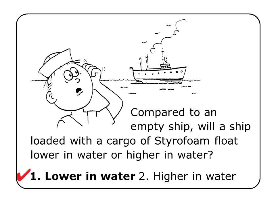 1. Lower in water 2. Higher in water