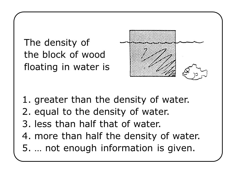 The density of the block of wood floating in water is