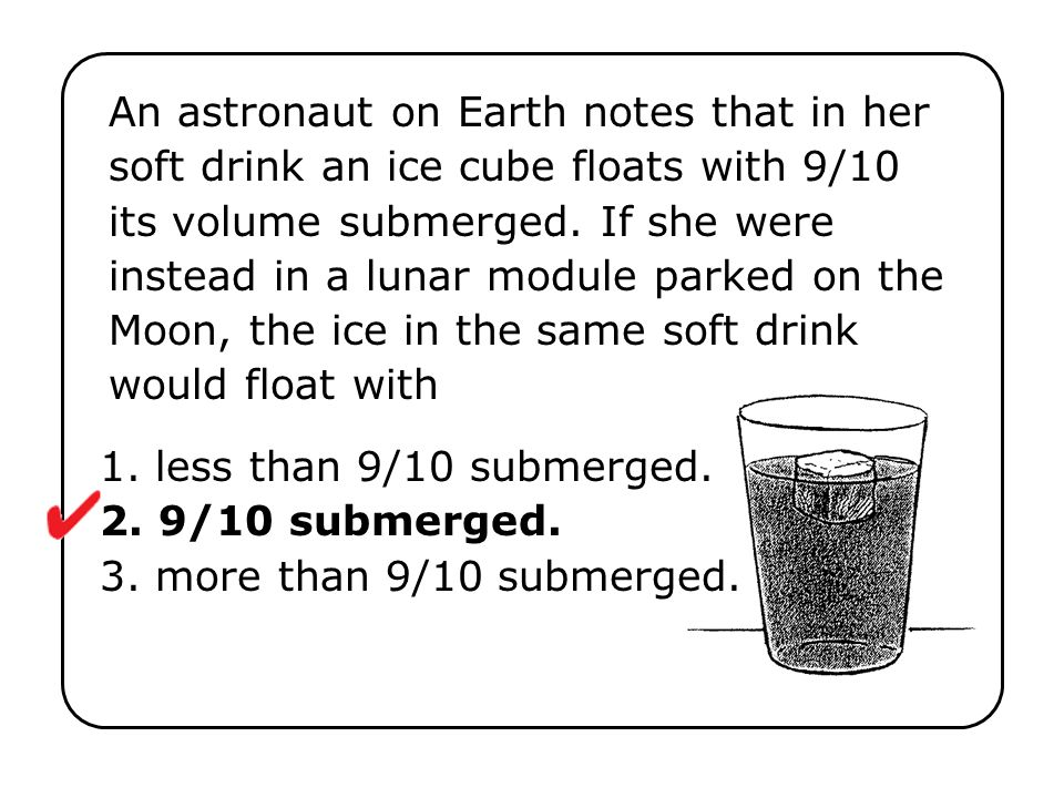 An astronaut on Earth notes that in her soft drink an ice cube floats with 9/10 its volume submerged. If she were instead in a lunar module parked on the Moon, the ice in the same soft drink would float with