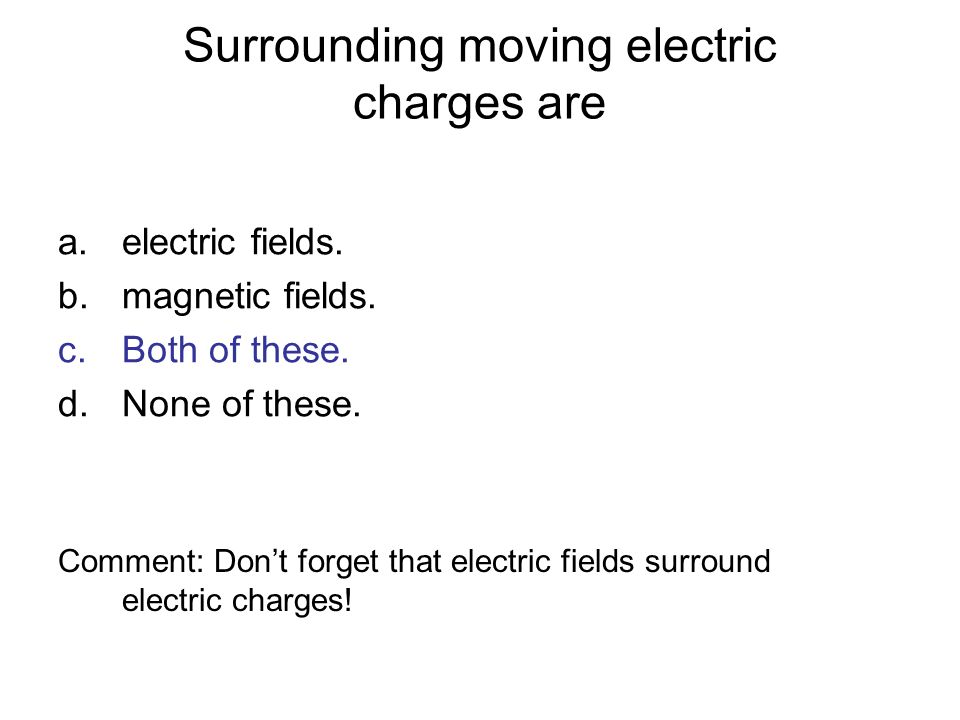 Surrounding moving electric charges are