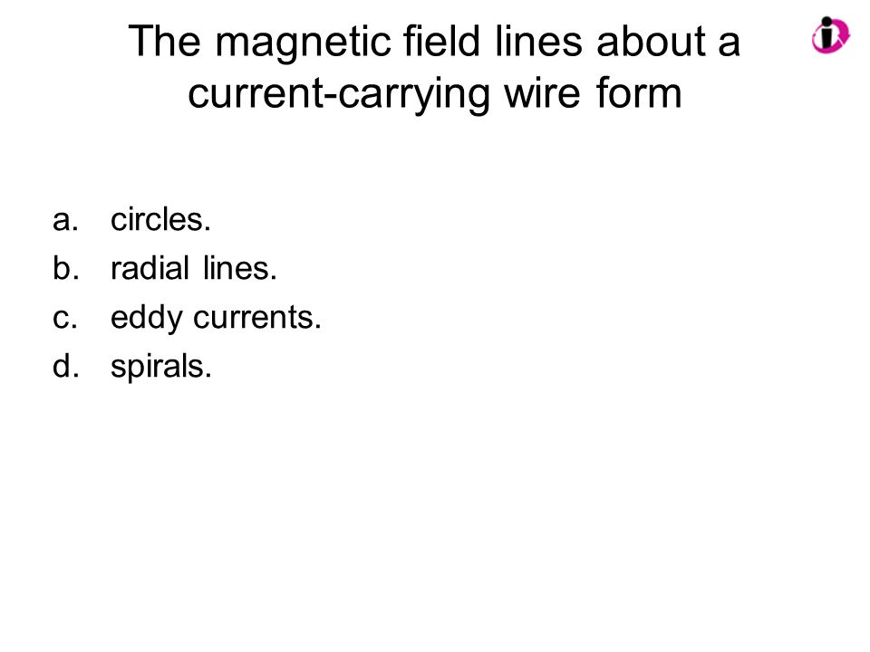 The magnetic field lines about a current-carrying wire form