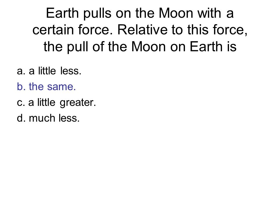Earth pulls on the Moon with a certain force