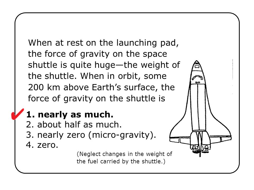 When at rest on the launching pad, the force of gravity on the space shuttle is quite huge—the weight of the shuttle. When in orbit, some 200 km above Earth's surface, the force of gravity on the shuttle is