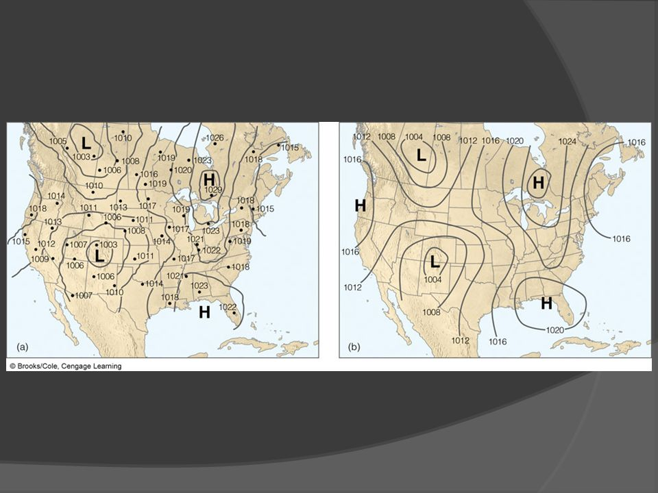 FIGURE 8.10 (a) Sea-level isobars drawn so that each observation is taken into account.