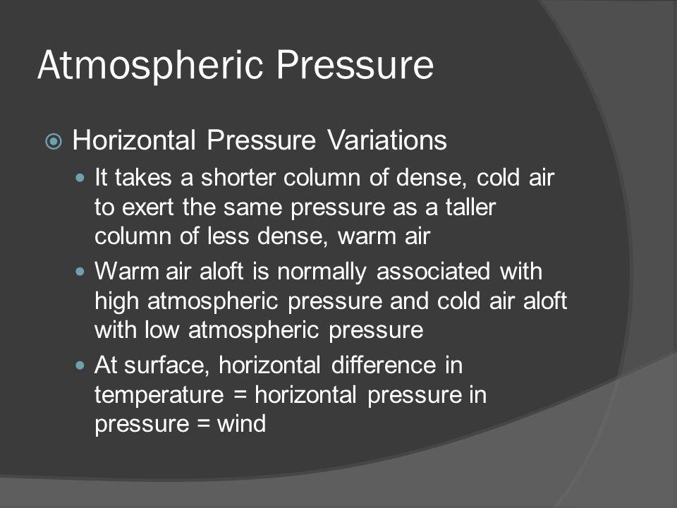 Atmospheric Pressure Horizontal Pressure Variations