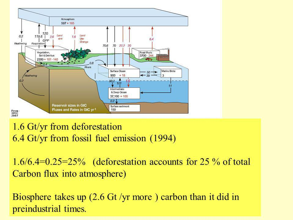 Carbon Cycle 1.6 Gt/yr from deforestation