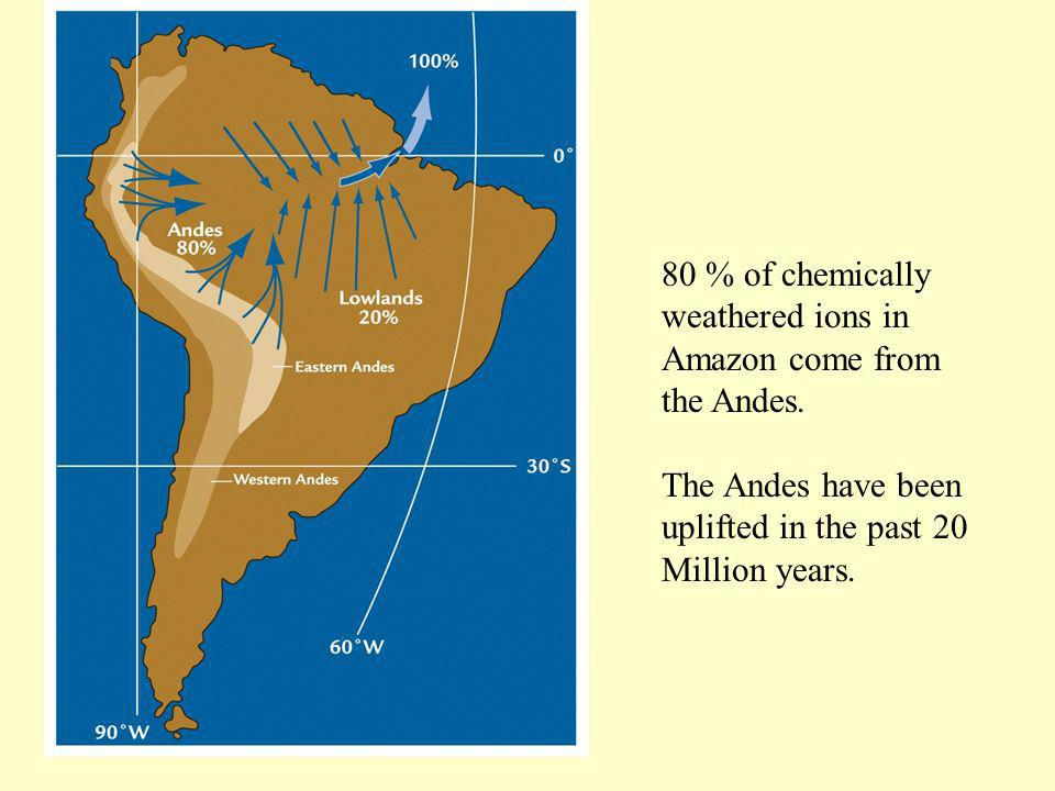 80 % of chemically weathered ions in Amazon come from the Andes.