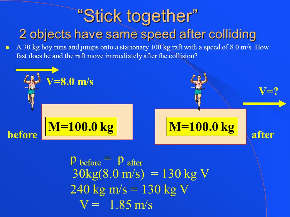 Stick together 2 objects have same speed after colliding