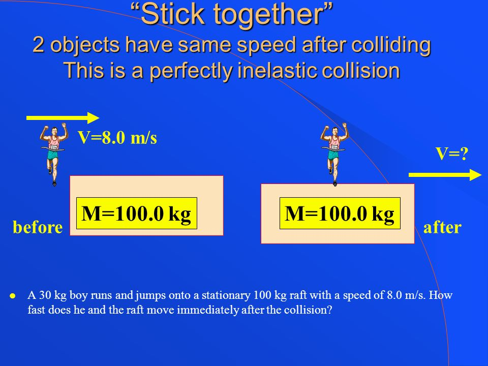 Stick together 2 objects have same speed after colliding This is a perfectly inelastic collision