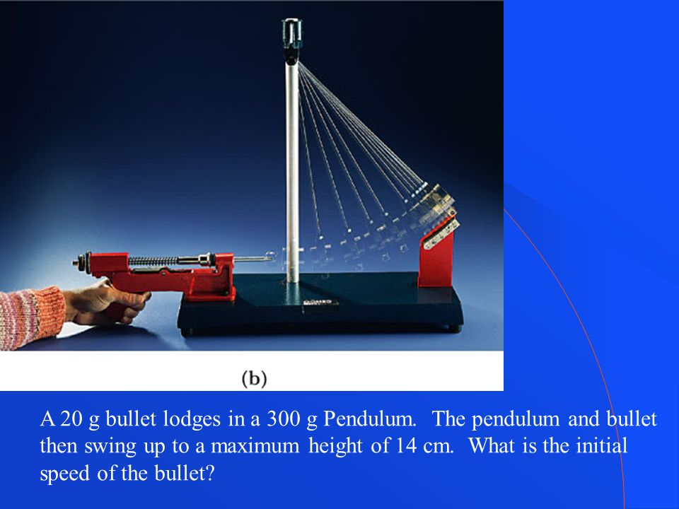 A 20 g bullet lodges in a 300 g Pendulum