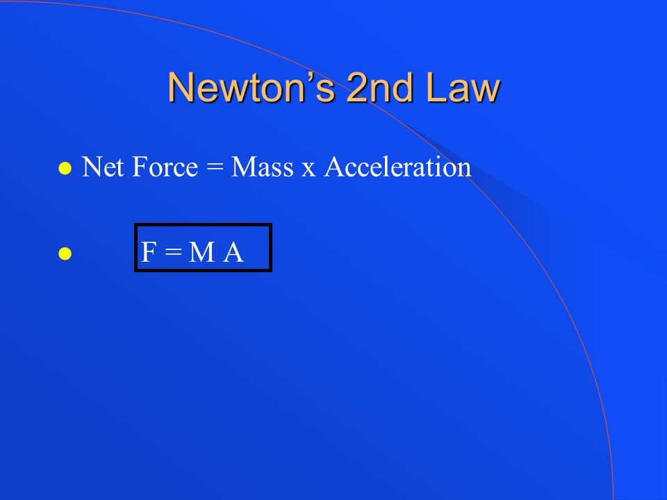 Newton's 2nd Law Net Force = Mass x Acceleration F = M A