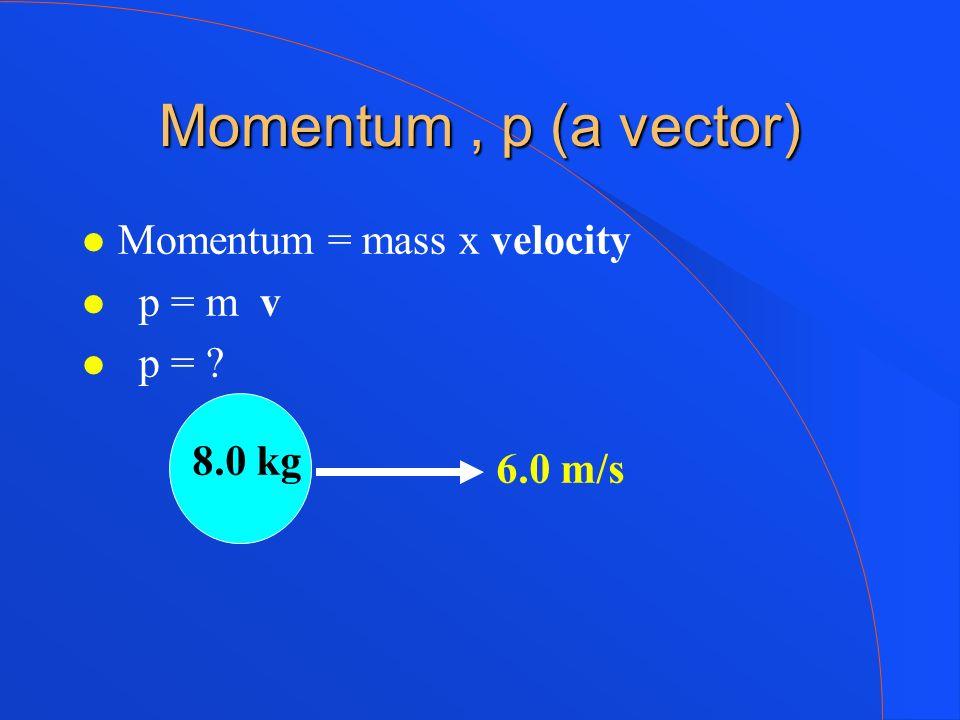 Momentum , p (a vector) Momentum = mass x velocity p = m v p =