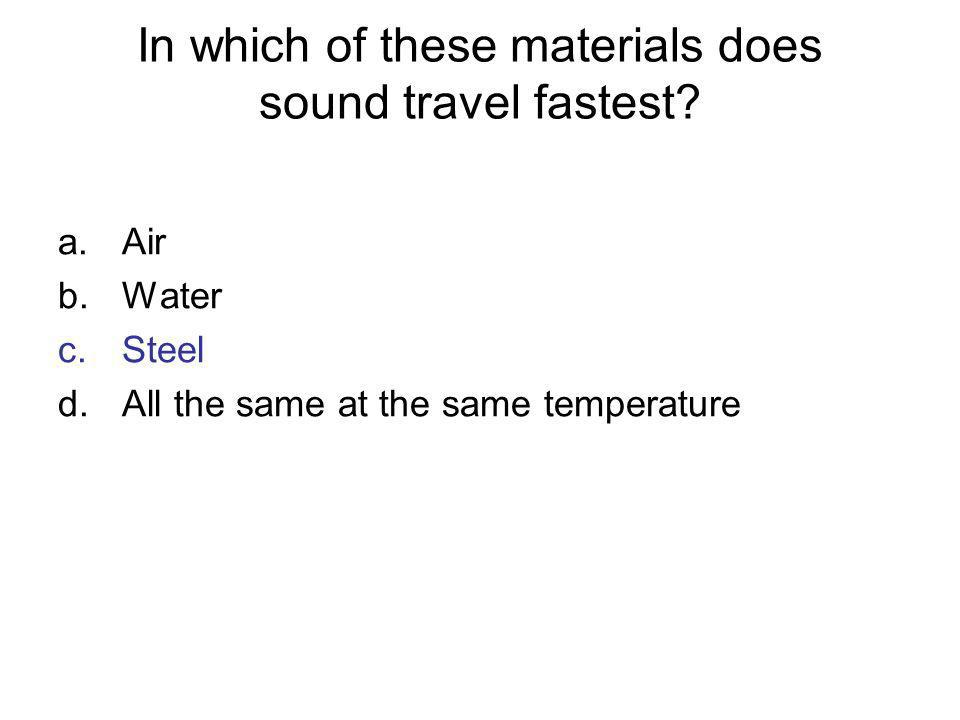 In which of these materials does sound travel fastest