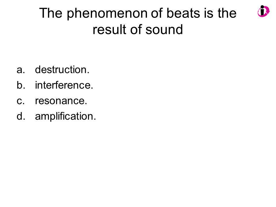 The phenomenon of beats is the result of sound