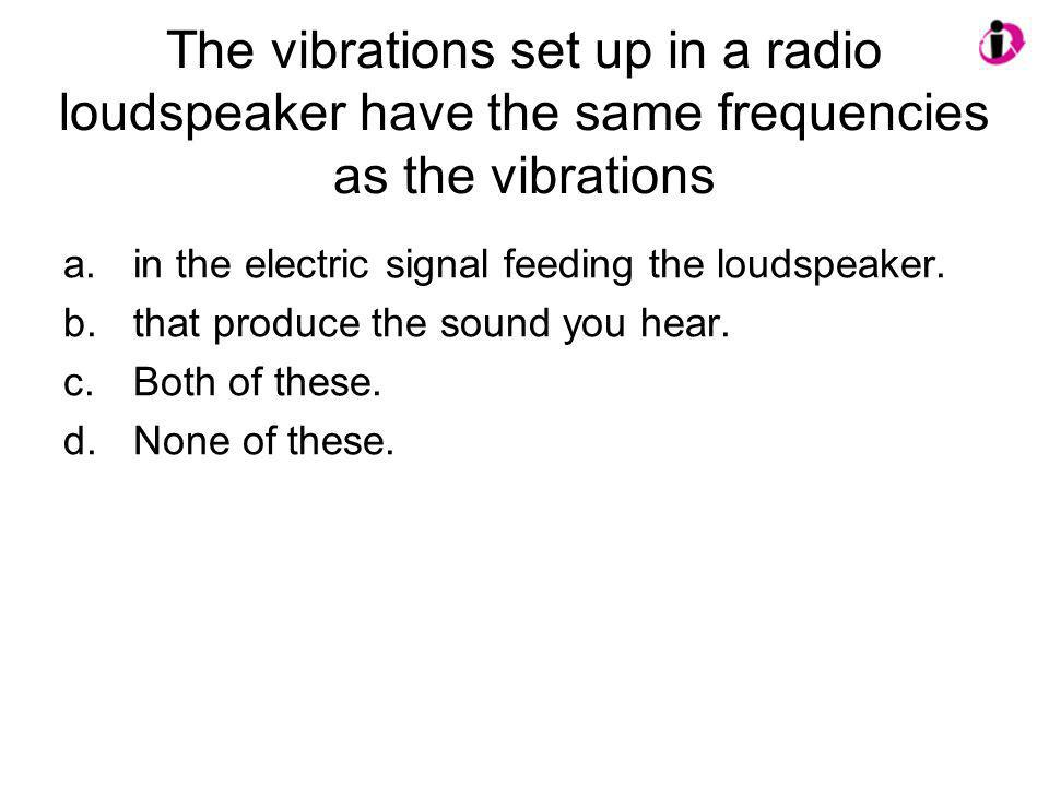 The vibrations set up in a radio loudspeaker have the same frequencies as the vibrations