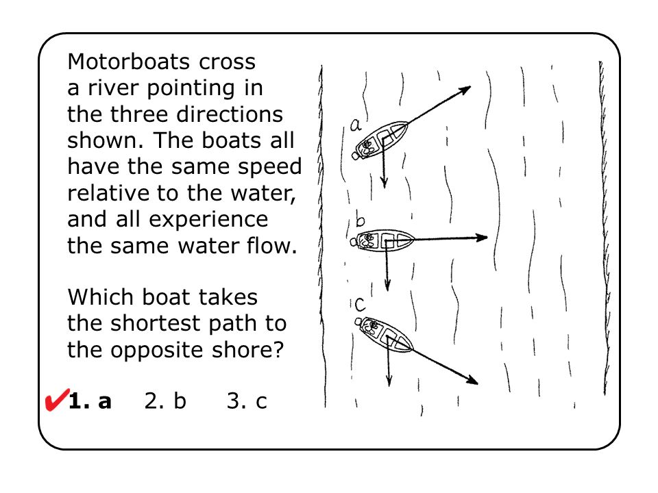 Which boat takes the shortest path to the opposite shore