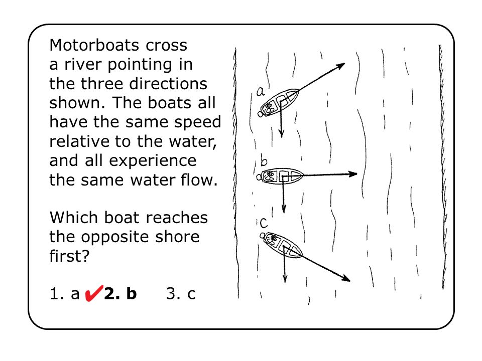Which boat reaches the opposite shore first