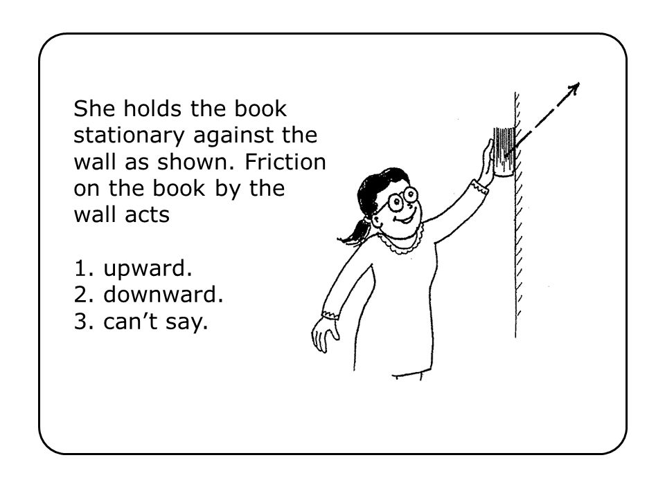 She holds the book stationary against the wall as shown