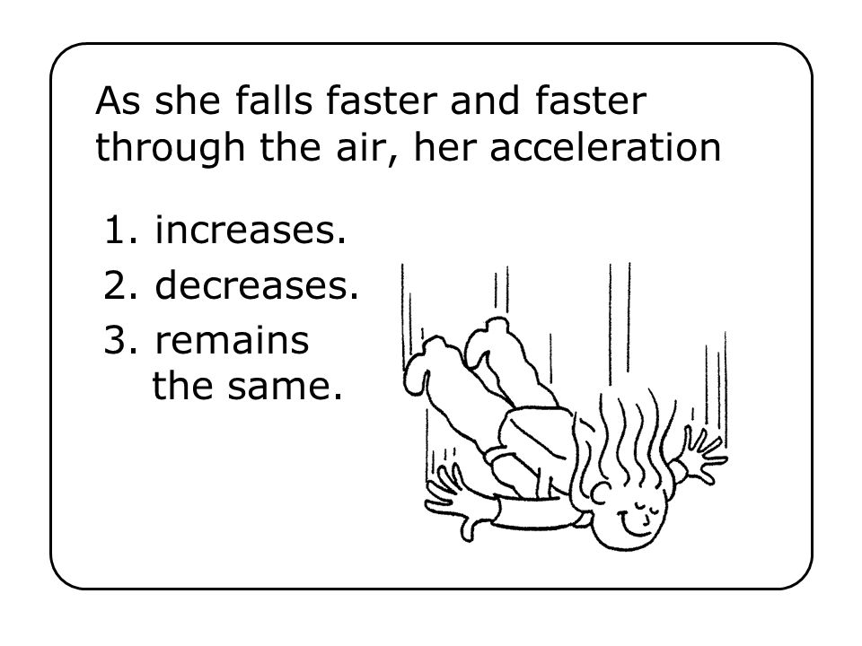 As she falls faster and faster through the air, her acceleration