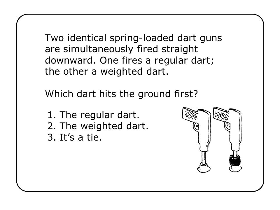 Two identical spring-loaded dart guns are simultaneously fired straight downward. One fires a regular dart; the other a weighted dart. Which dart hits the ground first