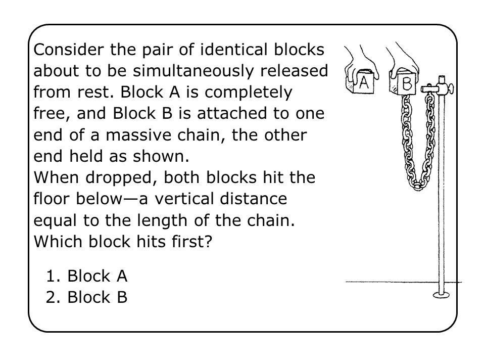 Consider the pair of identical blocks about to be simultaneously released from rest. Block A is completely free, and Block B is attached to one end of a massive chain, the other end held as shown. When dropped, both blocks hit the floor below—a vertical distance equal to the length of the chain. Which block hits first