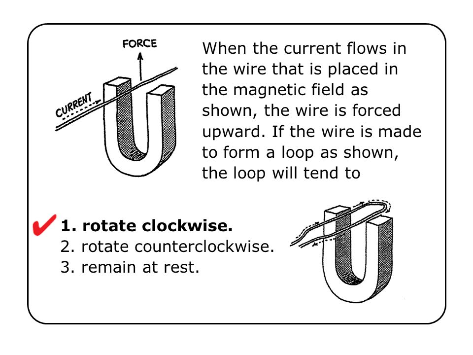 1. rotate clockwise. 2. rotate counterclockwise. 3. remain at rest.