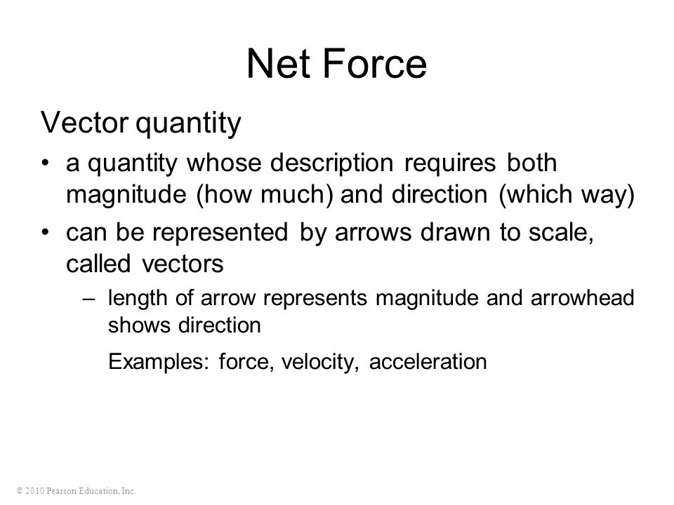 Net Force Vector quantity