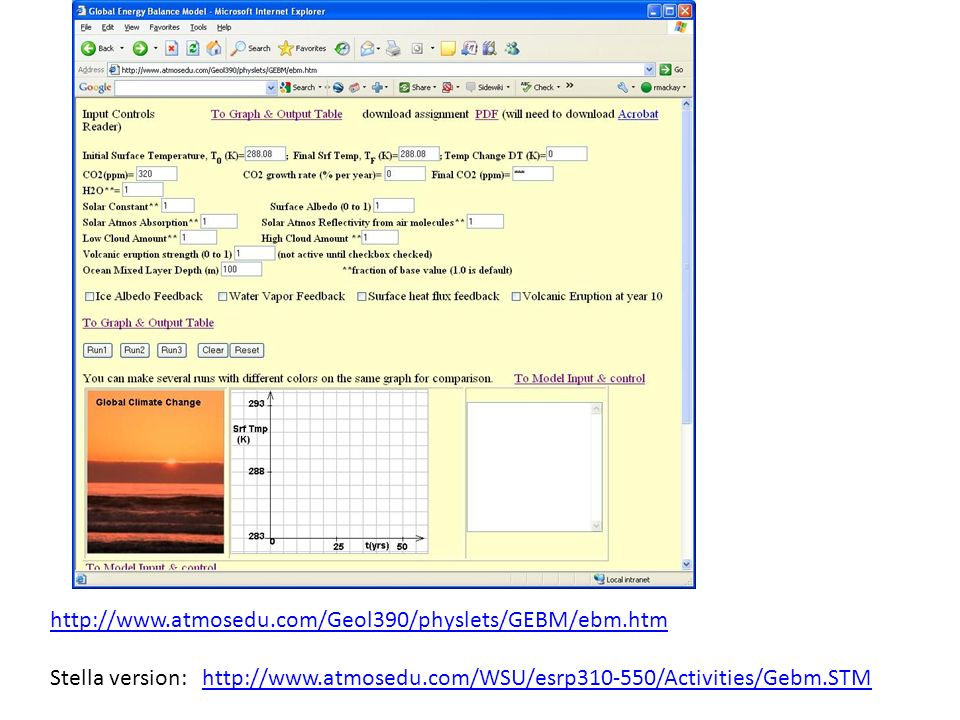 http://www.atmosedu.com/Geol390/physlets/GEBM/ebm.htm Stella version: http://www.atmosedu.com/WSU/esrp310-550/Activities/Gebm.STM.