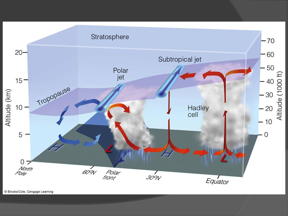 FIGURE 10.9 Average position of the polar jet stream and the subtropical jet stream, with respect to a model of the general circulation in winter.