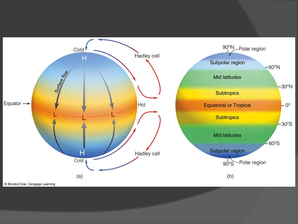 FIGURE 10.1 Diagram (a) shows the general circulation of air on a nonrotating earth uniformly covered with water and with the sun directly above the equator.