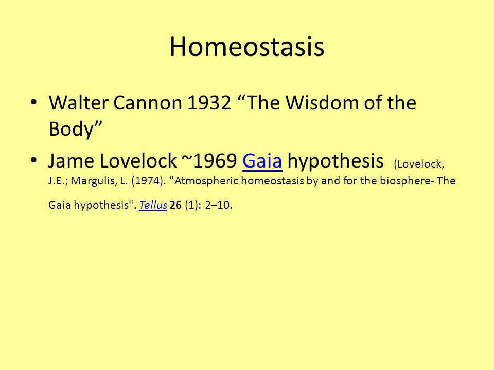 Homeostasis Walter Cannon 1932 The Wisdom of the Body