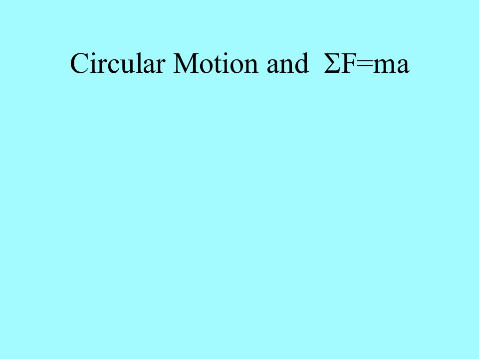 Circular Motion and SF=ma