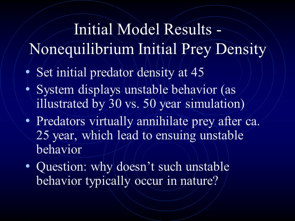 Initial Model Results - Nonequilibrium Initial Prey Density
