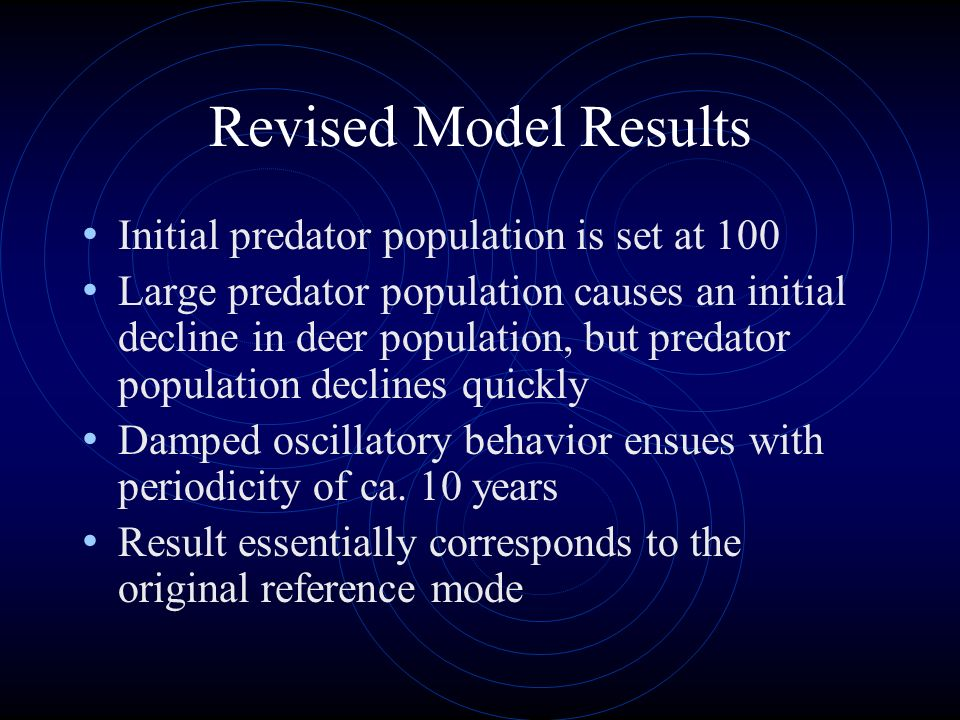 Revised Model Results Initial predator population is set at 100