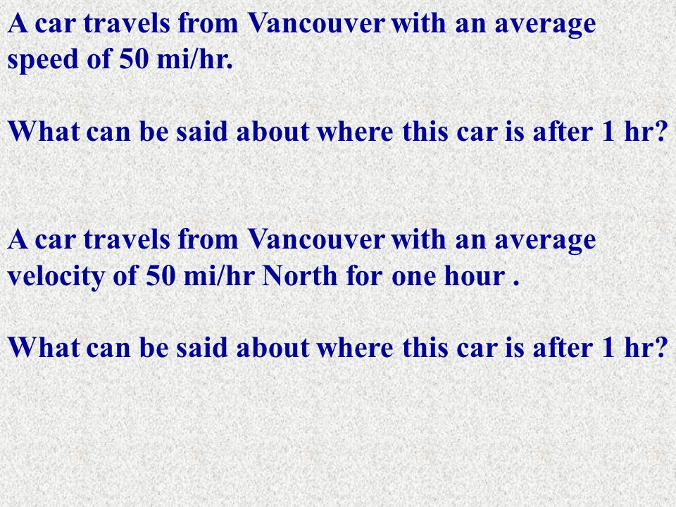 A car travels from Vancouver with an average speed of 50 mi/hr.