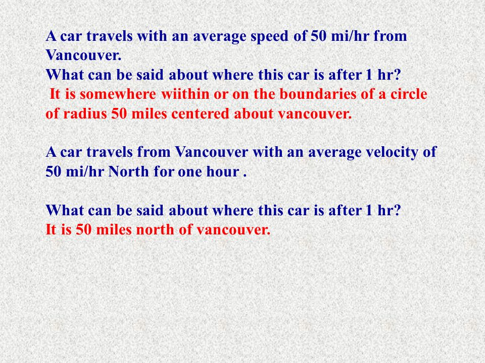 A car travels with an average speed of 50 mi/hr from Vancouver.