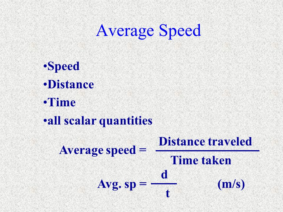 Speed Distance Time all scalar quantities