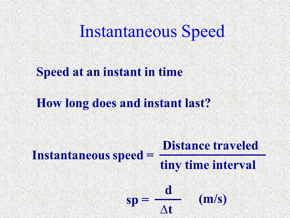 Instantaneous Speed Speed at an instant in time